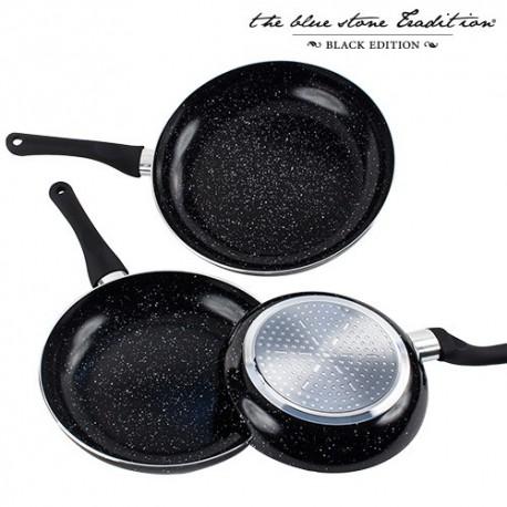 Padelle con Rivestimento in Pietra Black Stone Pan (3 pezzi)