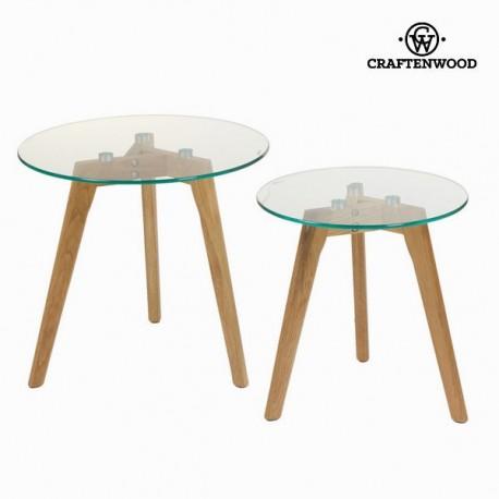 Set 2 tavoli rovere e vetro